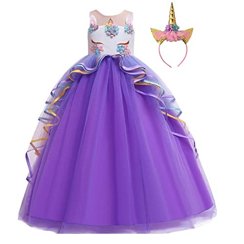Halloween Birthday Outfits (HIHCBF Girls Unicorn Costume Pageant Princess Party Dress Wedding Birthday Halloween Carnival Long Maxi Gown w/Headband Purple)