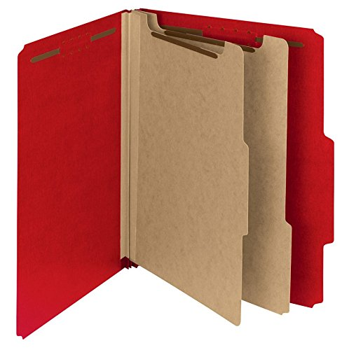 (Smead 100 Percent Recycled Pressboard Classification Folder, 2 Dividers, 2-Inch Expansion, Letter Size, Bright Red, 10 per Box (14061))
