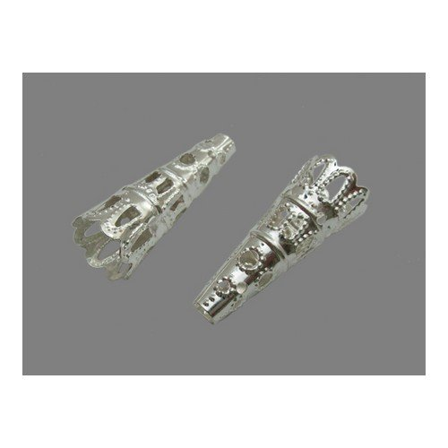 Packet of 50+ Silver Plated Iron 9 x 22mm Filigree End Caps Viking Weave - (HA12385) - Charming Beads ()