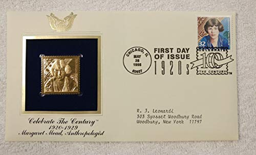 Margaret Mead, Anthropologist - Celebrate the Century (The 1920s) - FDC & 22kt Gold Replica Stamp plus Info Card - Postal Commemorative Society, 1998 - Science, Anthropology, Coming of Age in Samoa