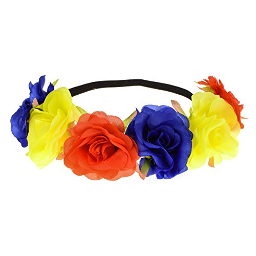 Floral Fall Rose Holiday Crown Festival Headbands Hippie Flower Headpiece F-53 (Z-Red Yellow - Red Flower Womens