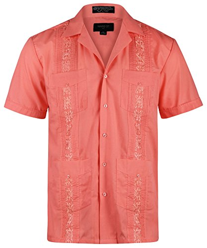 (Ward St Men's Short Sleeve Cuban Guayabera, S, 14-14.5N, Coral)