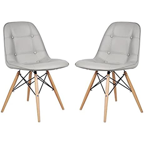EDECO Side Leather Chair With 4 Wooden Legs Set Of 2 Grey