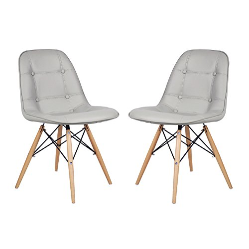 EDECO Side Leather Chair with 4 Wooden Legs (Set of 2, Grey)