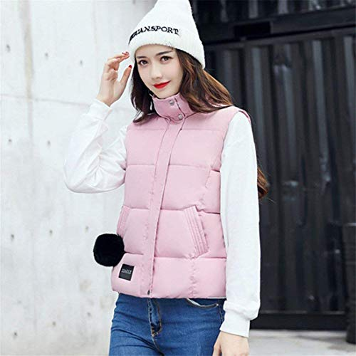 Solid Autumn Style Jackets Soft Pockets Vest Sleeveless Vest Zipper Collar with Rosa Fashion Vest Winter Slim High Fit Ladies Down Trendy Elegant Color Vest Special Quilted zS5qqZ