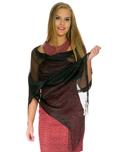 Shawls and Wraps for Evening Dresses, Wedding Shawl Wrap Fringes Scarf for Women Black -