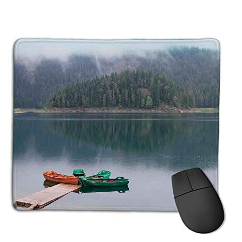 Premium Mouse Pad with Waterproof, Non Slip & Elegant Stitched Edges,Lake House Decor,Forest and Lake Landscape with Canoes by The Pier in European Countryside Fall Photo,Green Brown,Consoles More
