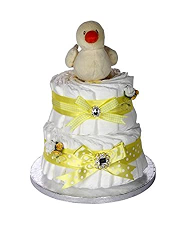 Amazon.com: Regalo de la firma amarillo tarta de pañales de ...