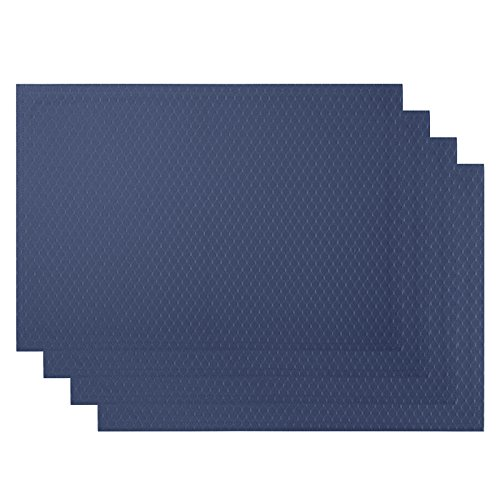 VEEYOO Heat-Resistant Placemats for Kitchen Dining Table Non-Slip Waterproof Woven Polyester Table Mats Outdoor Washable Placemat,13×19,Set of 6, Navy Blue