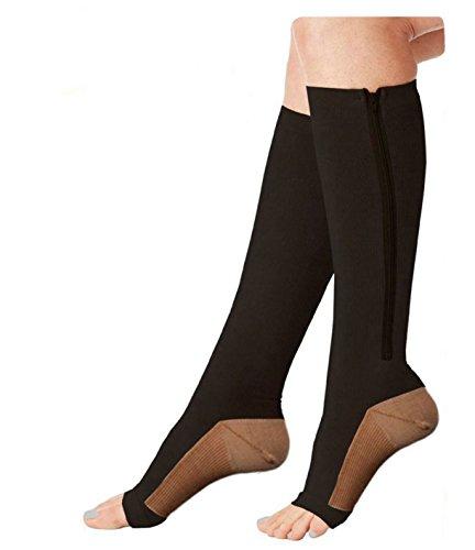 Moja Sports (ZipCu/Black, XXL, 1Pr) Compression Zipper Copper Socks BEST Graduated Athletic & Medical Use for Men & Women for Running, Flight, Travel, Nurses - Boost Performance, Blood Circulation by Moja Sports