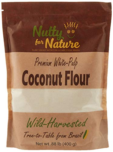 Nutty for Nature White Pulp Coconut Flour From Brazil - Raw, Gluten Free and Paleo, 400 Grams