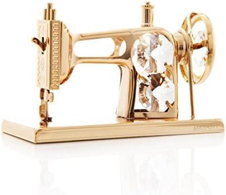 Matashi - Adorno para máquina de coser bañado en oro de 24 quilates con tachuelas de cristal