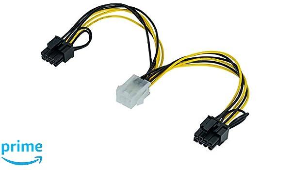 Poppstar - Cable de alimentación de Tarjeta gráfica PCI-Express Y de 20 cm (Conector Hembra de 6 Pines a 2X PCIe de 6+2 Pines (m))