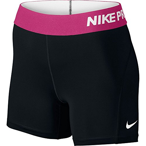 "Nike Pro Women's 5"" Training Shorts, Black/Vivid Pink/White, Large"