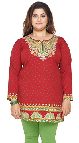 Women's Plus Size Indian Kurtis Tunic Top Printed India Clothing – L…Bust 40 inches, Red
