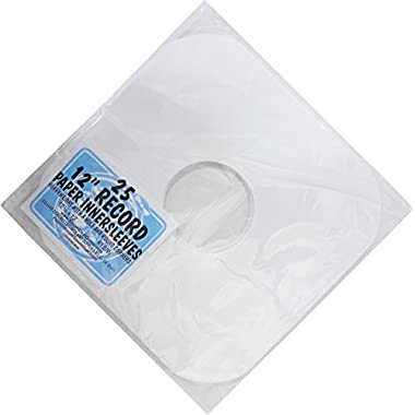 (25) White Heavyweight Paper Inner Sleeves for 12  Records - 12IW