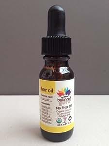 Balanced Guru No Frizz Hair Oil Organic Sesame & Lemongrass Travel Size 0.5 Oz