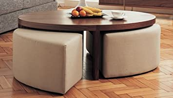 Oval Coffee Table With Stools Walnut Amazoncouk Kitchen