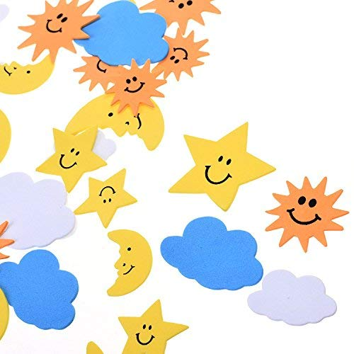 BCP 108 Pieces The Blue Sky, The Sun, The Moon Shapes Self-Adhesive Foam Stickers for Craft Art Project