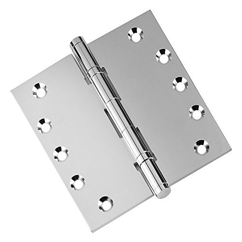 Door Hinges 5'' x 5'' Extruded Solid Brass Ball Bearing Brass Hinge Polished Chrome (US26) Stainless Steel Pin, Architectural Grade, Ball/Urn/Button Tips Included - Set of 2 Hinges