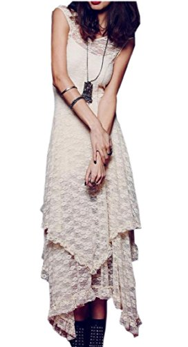 Summer Irregular Line Lace Apricot Party Dress Womens Jaycargogo Sleeveless A 5wfAxHq
