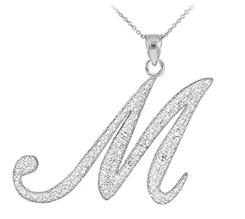 Fine 925 Sterling Silver CZ-Studded Script Letter M Initial Pendant Necklace