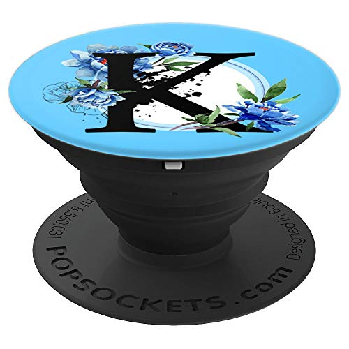 (Initial Letter K Monogram Geometric Shape Peony Blue - PopSockets Grip and Stand for Phones and Tablets)