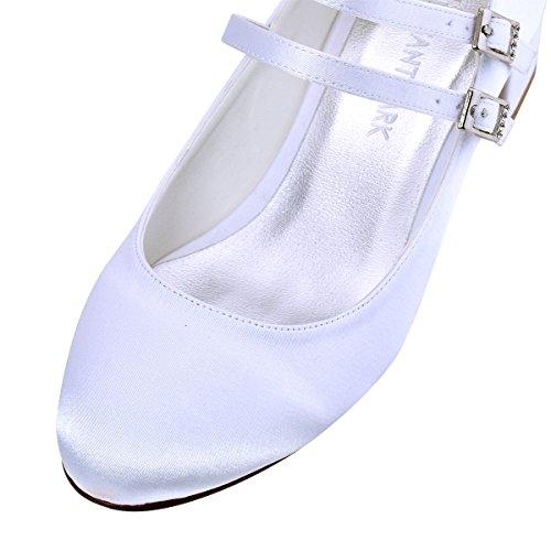 ElegantPark Mujeres Cerrado Toe Chunky Talón Mary Jane Bombas Satén Zapatos de vestir de noche Blanco