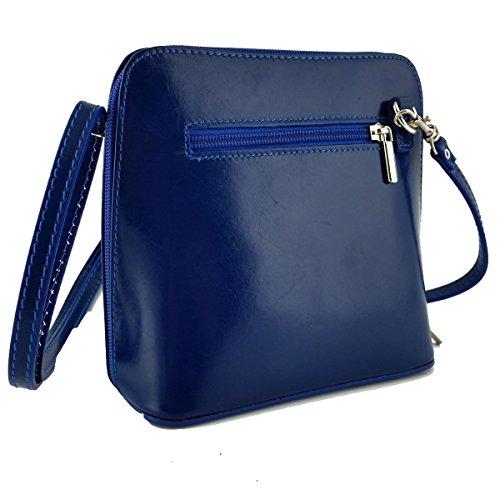 Piel Mujer De Para Peleteria Bandolera Echa Italia Azul En Bolso Color wRt71a