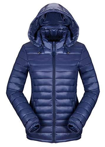 Coat Light Women's Blue Down Weight Jacket Dart Ultra Winter EKU Hooded Packable Short q1KwpaXvXx