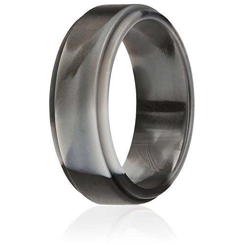 - ROQ Silicone Wedding Ring for Men by, Singles Silicone Rubber Band Step Edge - Black Camo - Size 15