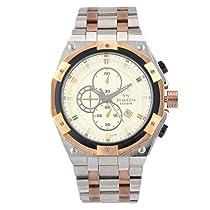 STARDOM 12273M Chronograph Round Case Men's Wrist Watch   Steel Bracelet Strap – Screw Design   Rose Gold & Silver