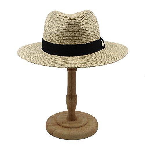 Xeno Men Women Straw Panama Hat Sombrero Fedora Trilby Cap Wide Brim Sunbonnet Sunhat Beige