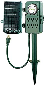 Century 24 Hour Mechanical Outdoor Multi Socket 6 Outlet Timer w/Stake