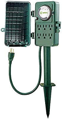 Century 24 Hour Mechanical Outdoor Multi Socket Timer, Waterproof Cover on