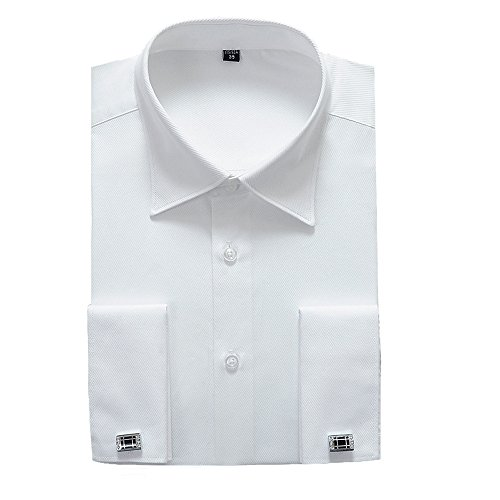 Alimens & Gentle French Cuff Slim Fit Dress Shirts (Cufflink