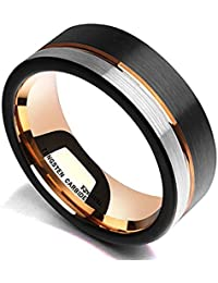 Loop Tungsten Carbide Wedding Band 8mm Rose Gold Line Ring Black and Silver Brushed Comfort Fit