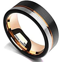 King Will Loop Tungsten Carbide Wedding Band 8mm Rose Gold Line Ring Black and Silver Brushed Comfort Fit