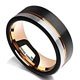 King Will Loop Tungsten Carbide Wedding Band 8mm Rose Gold Line Ring Black and Silver Brushed Comfort Fit10.5