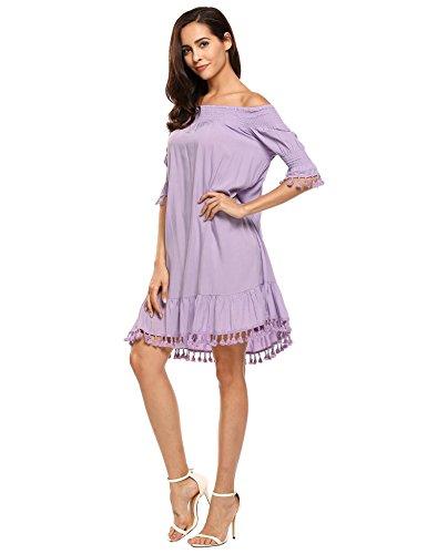 786e9e8d431 ELESOL Womens Casual Off Shoulder Tassel Half Sleeve Shift Loose Beach Mini  Dress - Delocus Store
