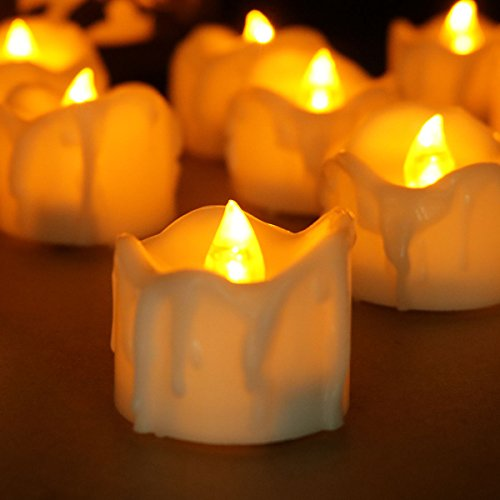 - Youngerbaby Set of 12 Amber Yellow Flickering Flameless Candles with Timer LED Tea Light Timing (6Hrs ON 18Hrs OFF), Small Wax Dripped Battery Operated Tealights for Christmas Party Thanksgiving Day