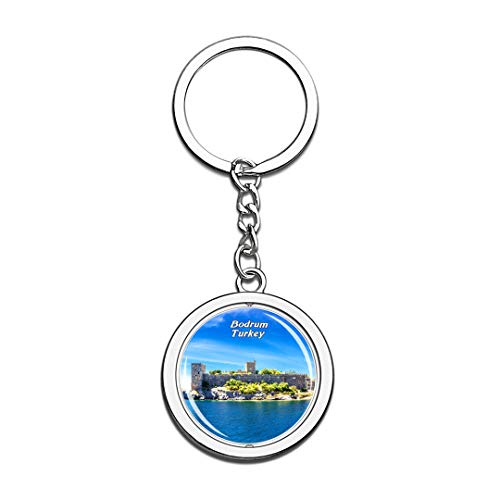 Castle of St. Peter Bodrum Turkey Keychain 3D Crystal Spinning Round Stainless Steel Keychains Travel City Souvenir Key Chain Ring ()