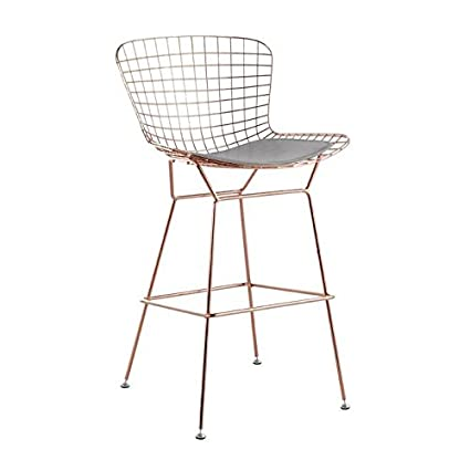Peachy Amazon Com Bertoia Style Wire Barstool In Rose Gold Finish Theyellowbook Wood Chair Design Ideas Theyellowbookinfo