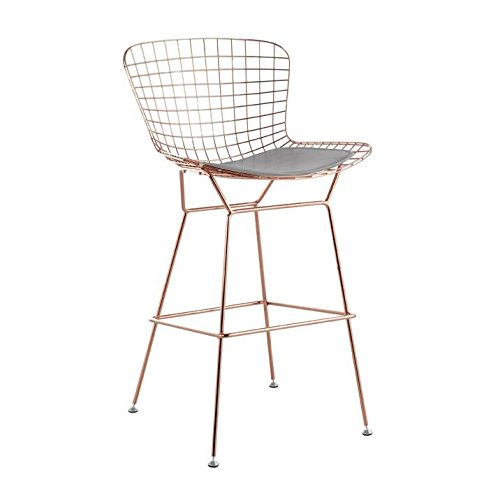 Bertoia Bar Stool Seat Pad (Bertoia Style Wire Counter Stool in Rose Gold Finish (Grey Seat Pad))