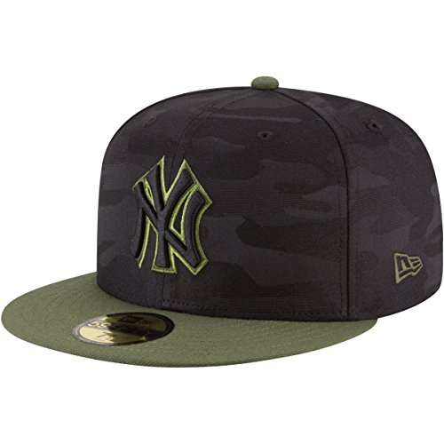 Camo 59fifty Fitted Cap - New Era New York Yankees 2018 Memorial Day On-Field 59FIFTY Fitted Hat – Black/Olive (7 7/8)