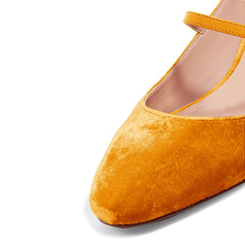 XYD Womens Retro Marry Jane Block Heel Pumps Velvet Ankle Strap Round Toe Dress Shoes Size 9.5 Orange by XYD (Image #3)