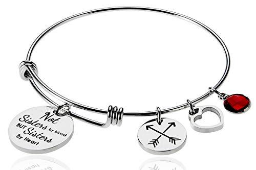 Best Friends Bracelet, Inspirational Bracelet, Adjustable Bracelet, January Birthstone Bracelet Not Sisters by Blood But Sisters by Heart, Charm Expandable Wire Bangle for Women ()