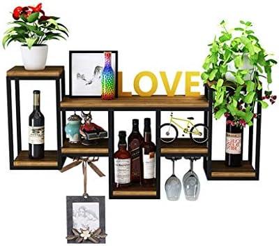 CCLLA Wine Rack Wine Glass Holder Soporte de Pared de Madera Metal   Estante de Almacenamiento en Pared   Sostenedor de Botella de Vino   Vinoteca de Pared Loft Vintage Industrial Style (Negro)