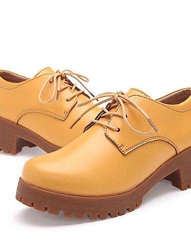 GGX/ Damen-Sneaker-Büro / Lässig-Nappaleder-Blockabsatz-Absätze-Schwarz / Gelb / Beige yellow-us6.5-7 / eu37 / uk4.5-5 / cn37