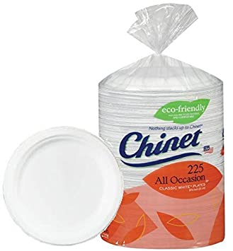 Chinet Big Party Pack Heavy Weight Paper Plates Classic White225 Count